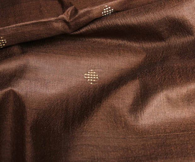 Walnut Brown Tussar Fabric With Weave Buttas