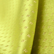Lime green 4 kuligai button satin banarasi silk fabric