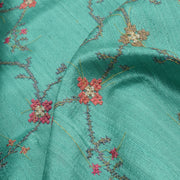 Turquoise Multi Thread Kutch Embroidery Tussar Fabric