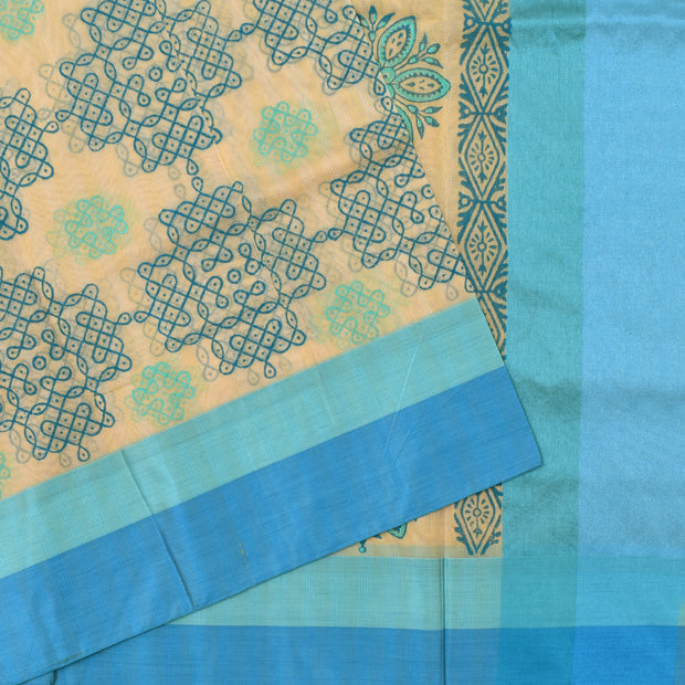 Half White Kollam Printed Kota Cotton Saree With Blouse And Blue Border