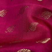 Ruby Red Leaf Button Kanchi Silk Fabric