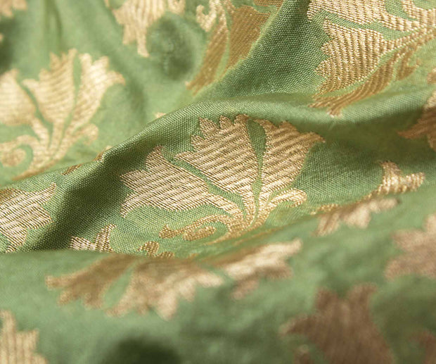 Apple Green Banarasi Silk Fabric With Zari Highlights