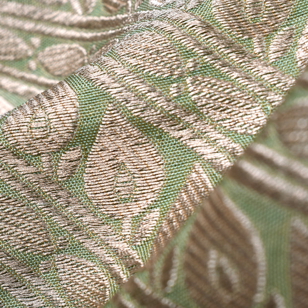 Pastel Mint Green Banarasi Silk Fabric With Silver Assymetrical Floral Design