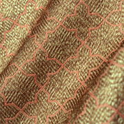 Orange Diamond  Antique Butta Banarasi Silk Fabric