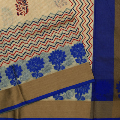 Half White Printed Zigzag  Kota Cotton Saree With Blue Thread Zari Border And Blouse