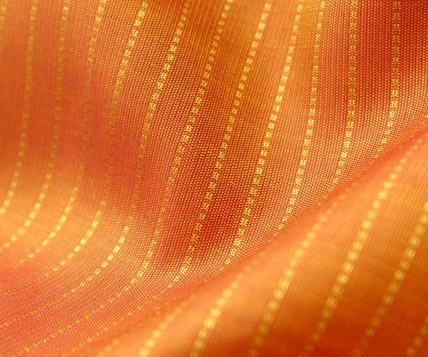 Dual Tone Orange And Yellow Muthuseer Line Kanchi Silk Fabric