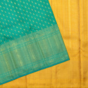 Turquoise Blue Leaf Button Kanchi Silk Saree With Mustard Grand Pallu  And Annapakshi Zari Design Long Border With Blouse