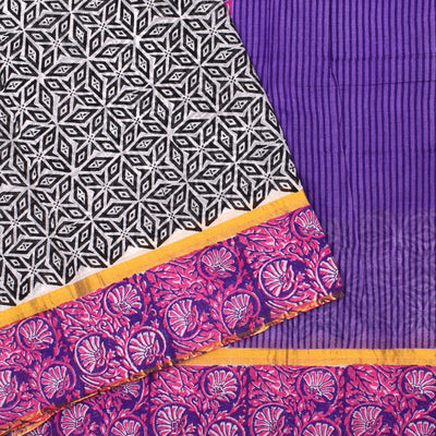 White Printed Bengal Cotton Saree With Purple Floral  Printed Border And Purple Printed Blouse