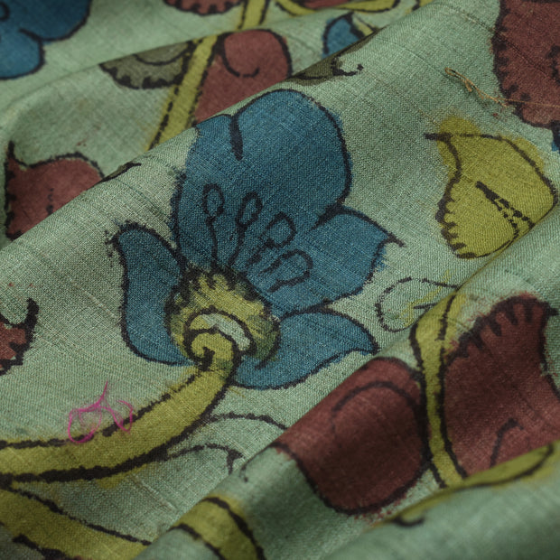 Light Mint Pen Kalamkari Fabric