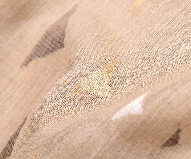 Half White Tussar Fabric With Mountain Butta Highlighted