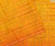 Pastel Sea Green Tussar Printed And Yellow/Orange Dual Shade Tussar Checked Saree With Blouse