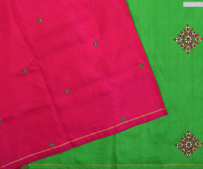 Hot Pink Kanchi Silk Saree With Alli Green Pallu Crafted With Kundhan Diamond Work - With Blouse