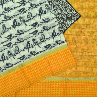 White Birds Printed Bengal Cotton Saree With Mustard Yellow  Printed Blouse