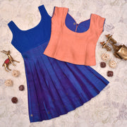 Peach Top With Dual Tone Blue And Violet Skirt