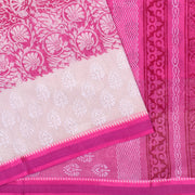 White Floral Printed Bengal Cotton Saree With Pink Blouse