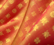 Peach And Orange Double Shaded Kanchi Silk Fabric With Star  Button Design Highlights