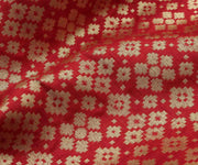 Red Banarasi Silk Fabric with Butta