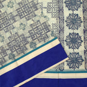 Half White Kollam Printed Kota Cotton Saree With Blouse And Dark Blue Border