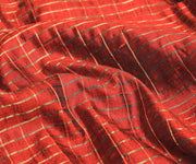Ruby Red Raw Silk Fabric With Uneven Checks