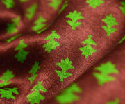 Coffee Brown Satin Fabric With Green Floral Design