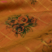 Orange Floral Printed Kanchi Silk Fabric
