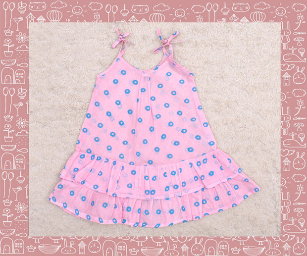 Bhadra - Baby Pink With Blue Circle Printed Frock