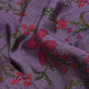Grey Multi Thread Kutch Embroidery Tussar Fabric
