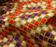Multi Color Fabric with Sequence Embroidery