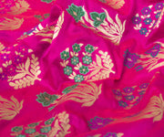 Hot Pink Banarasi Silk Fabric With Floral Zari Highlights