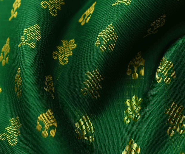 Forest Green Kanchi Silk Kamal Button Kanchi Silk Fabric