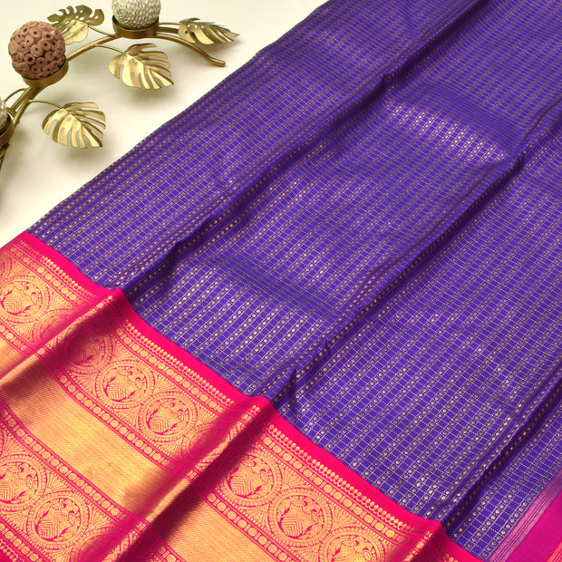 Purple Kanchi Silk Saree With Rose Blouse