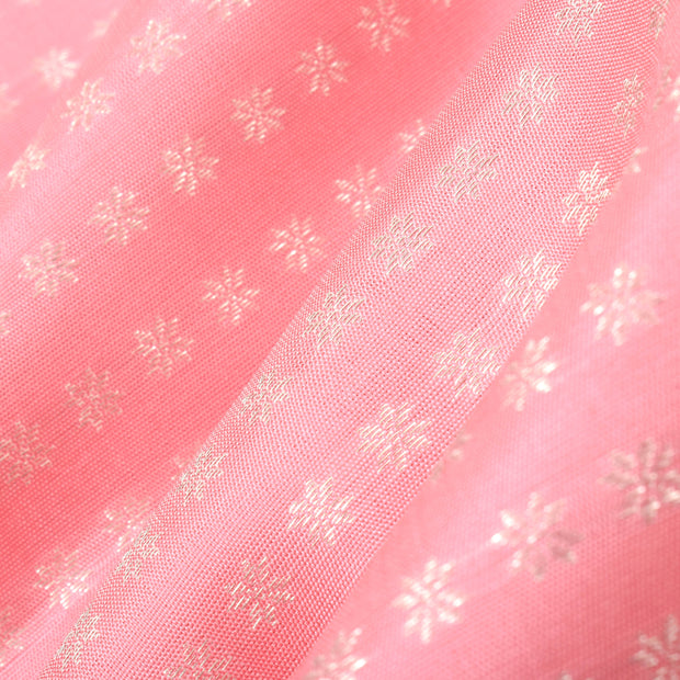 Peach Silver Zari Star Button Kanchi Silk Fabric
