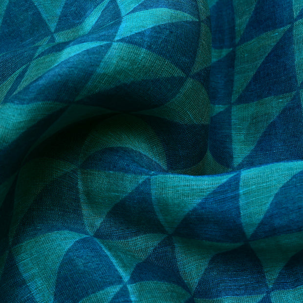 Blue Printed Tussar Fabric