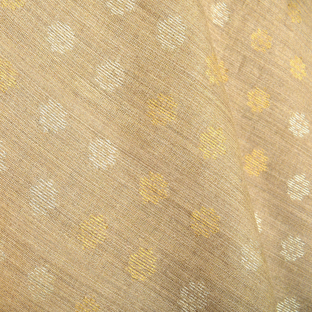 Half White Tussar Fabric With Silver And Gold Zari Butta Highlighted