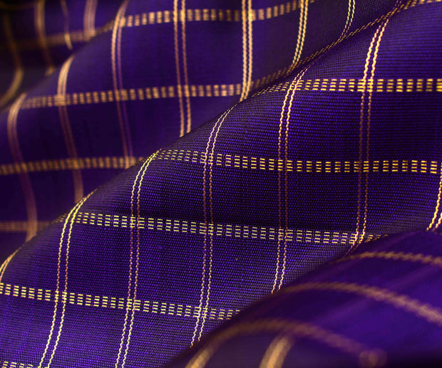 Indigo Blue Kanchi Silk Fabric With Zari Kattam Design