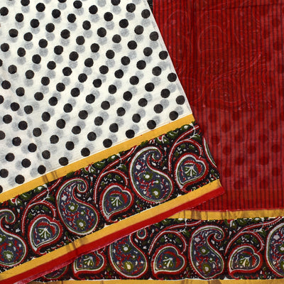 White Printed Bengal Cotton Saree With Black Paisley Printed Border
