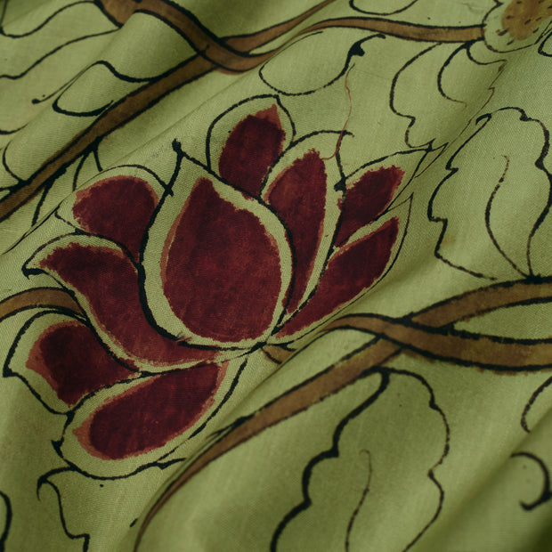 Olive Green Pen Kalamkari Fabric