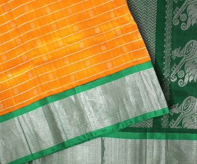 Yellow Uppada Saree with Green Border