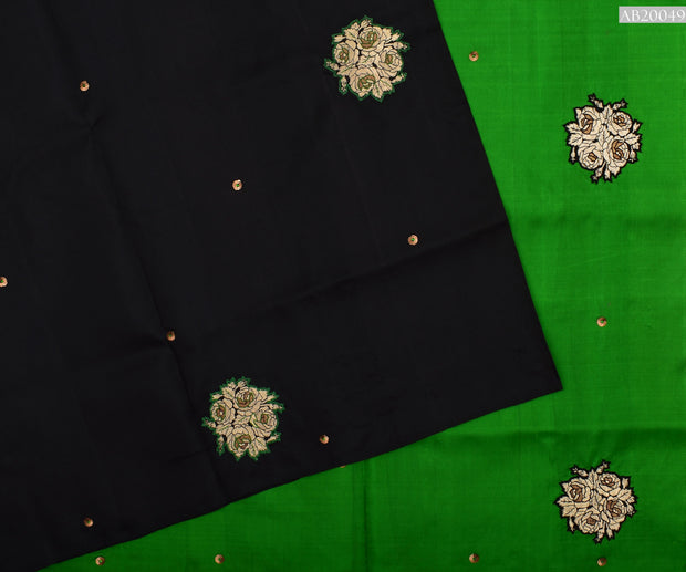 Black Kanchi Silk Saree With Green Pallu Crafted With Banarasi Applique - With Blouse