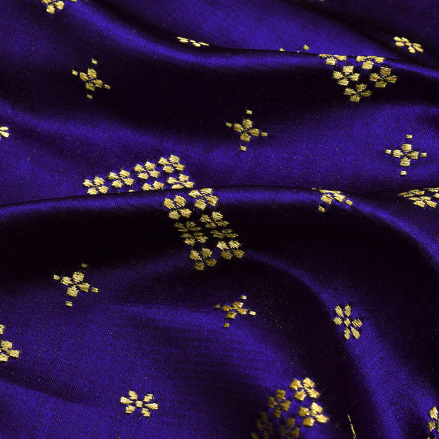 Ink Blue Floral Button Satin Banarasi Silk Fabric