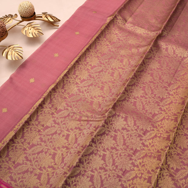 Onion Pink Kanchi Silk Saree With Pink Blouse