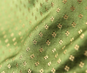Avocado Green Satin Banarasi Silk Fabric With Zari Highlights