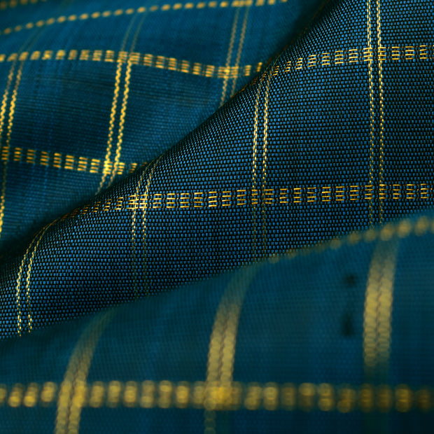 Peacock Blue Checked Kanchi Silk Fabric