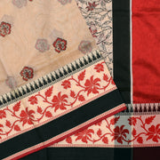 Half White  Printed Kota Cotton Saree With Floral Printed Blouse And Thread Zari Border