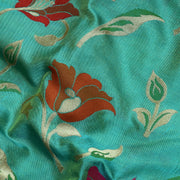 Seagreen Dual Tone Multi Thread And Zari Floral Banarasi Silk Fabric