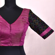 Rose Tussar With Black Ikkat Ready Made Blouse