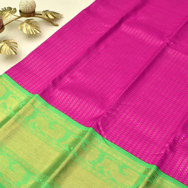 Rose Kanchi Silk Saree With Green Blouse