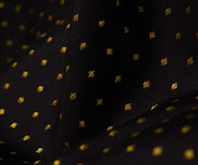Black Kanchi Silk Fabric With Dotted Butta Highlights