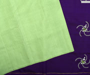 Apple Green MuthuSeer Kanchi Silk Saree With Purple Pallu Crafted With Bullion Knots , Zardosi And Beads - With Blouse