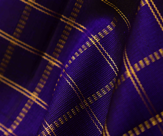 Violet Kanchi Silk Fabric With Zari Kattam Design